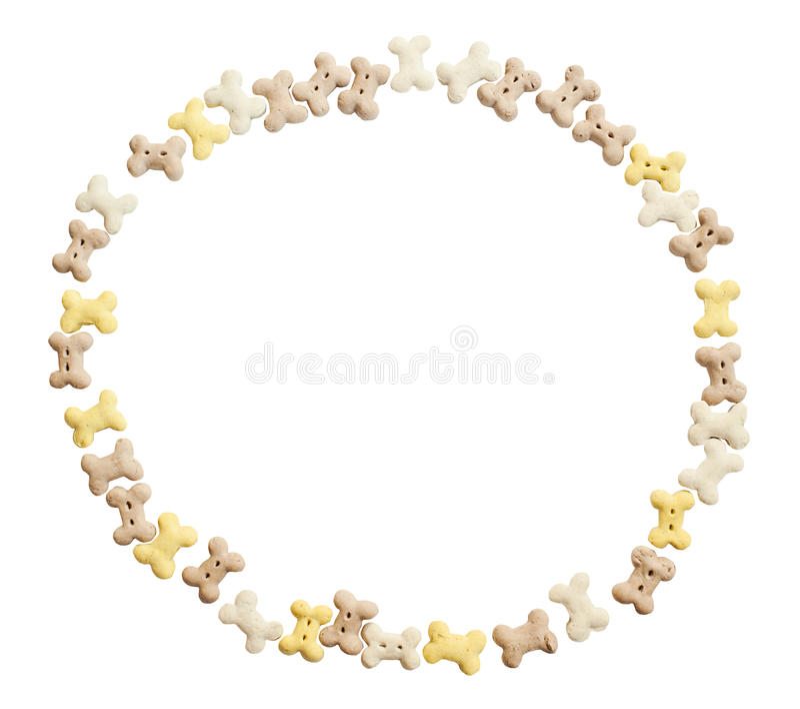 Cirkelram av hundkakor bakgrund isolerad white Snabb bana arkivfoton