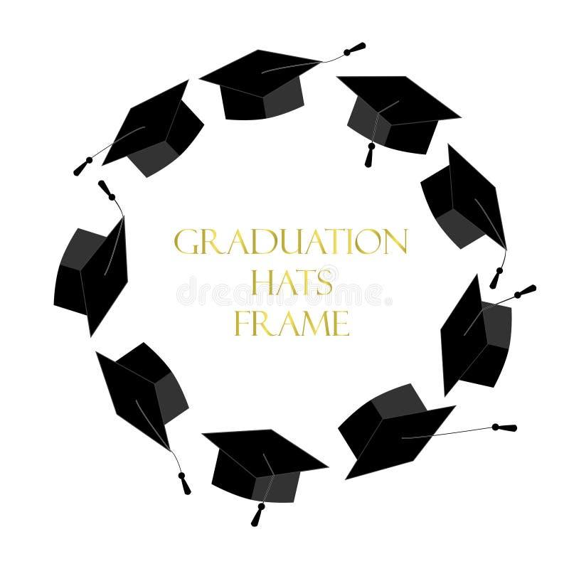Cirkelram från avläggande av examenlock Doktorand- bakgrund vektor illustrationer