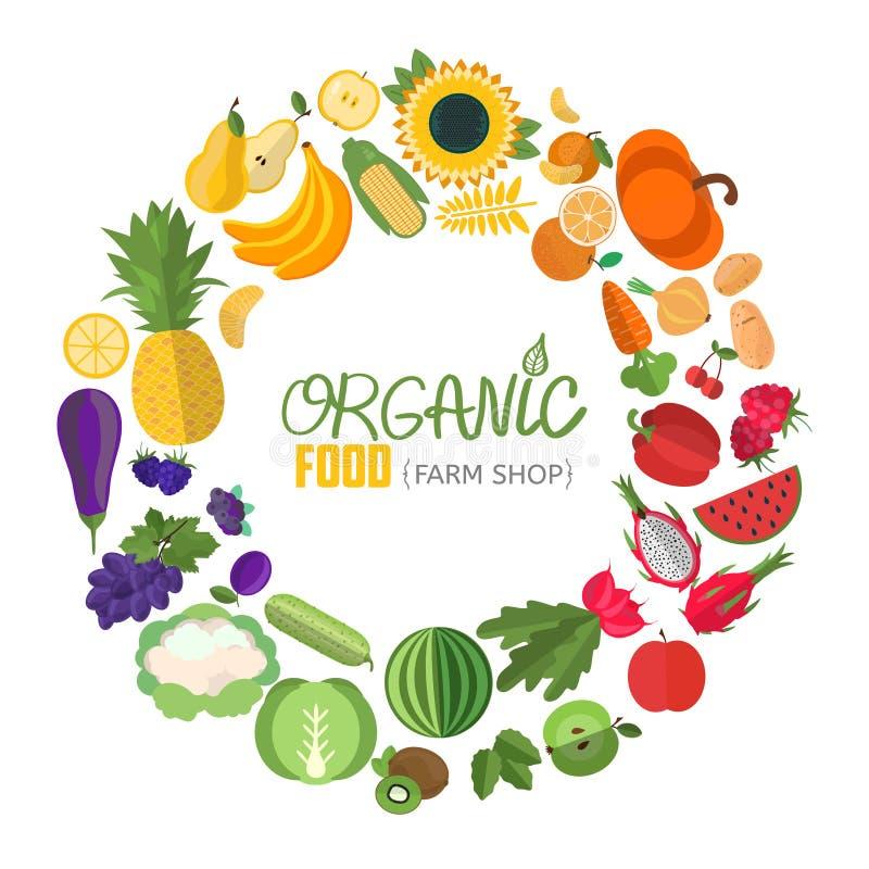 Cirkelram med frukt- och grönsaksymboler stock illustrationer
