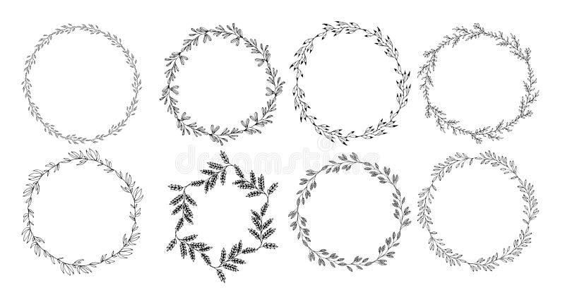 Cirkelramar ställde in prydnaden för den blom- handen för whith den utdragna vektor illustrationer