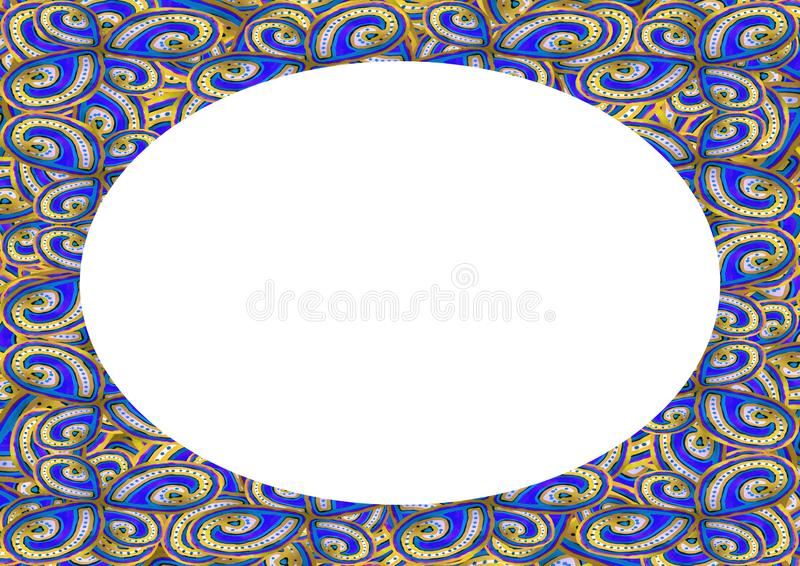 Cirkelrambakgrund med dekorerade gr?nser stock illustrationer