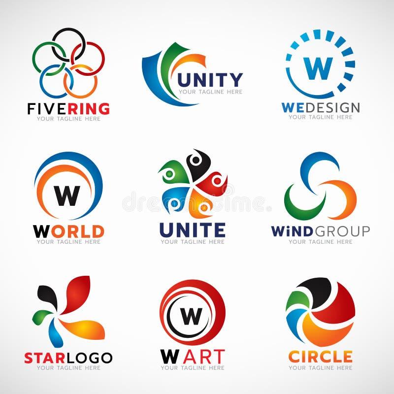Cirkelring en bloemembleem voor bedrijfs vector vastgesteld ontwerp vector illustratie