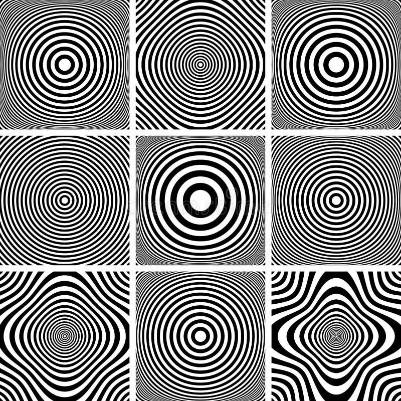 Cirkels en geplaatste ringenpatronen stock illustratie