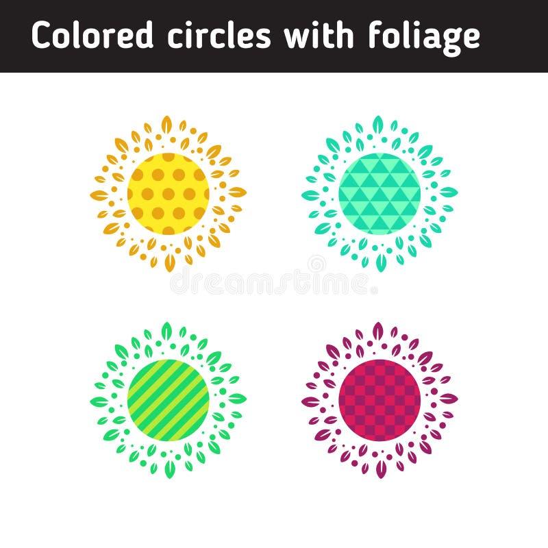 Cirkels met gekleurde geometrische patronen stock illustratie