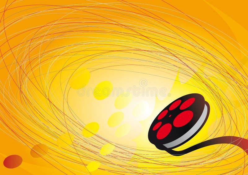 Cirkels, pijl en film op oranje achtergrond stock illustratie