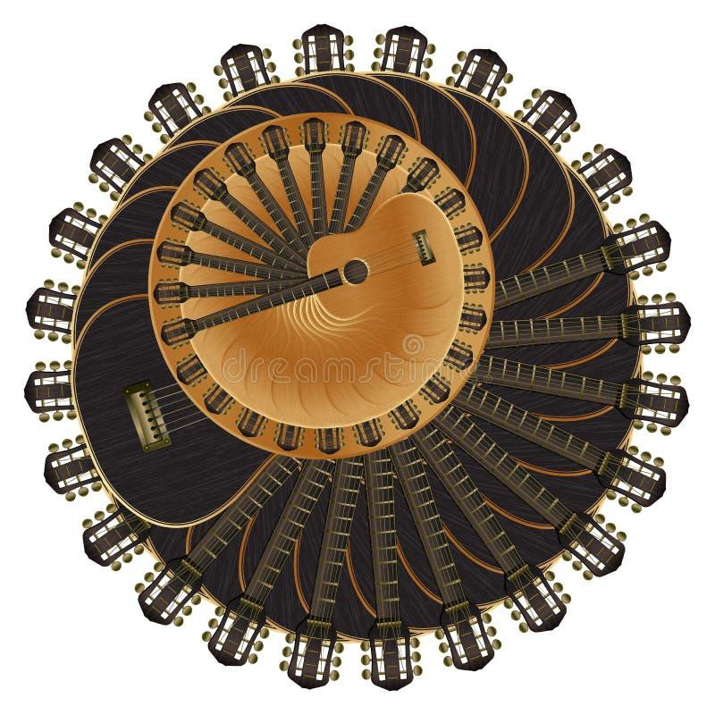 Cirkels van akoestische gitaar royalty-vrije illustratie
