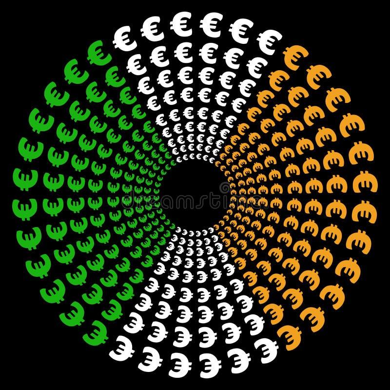 Cirkels van euro met Ierse vlag vector illustratie