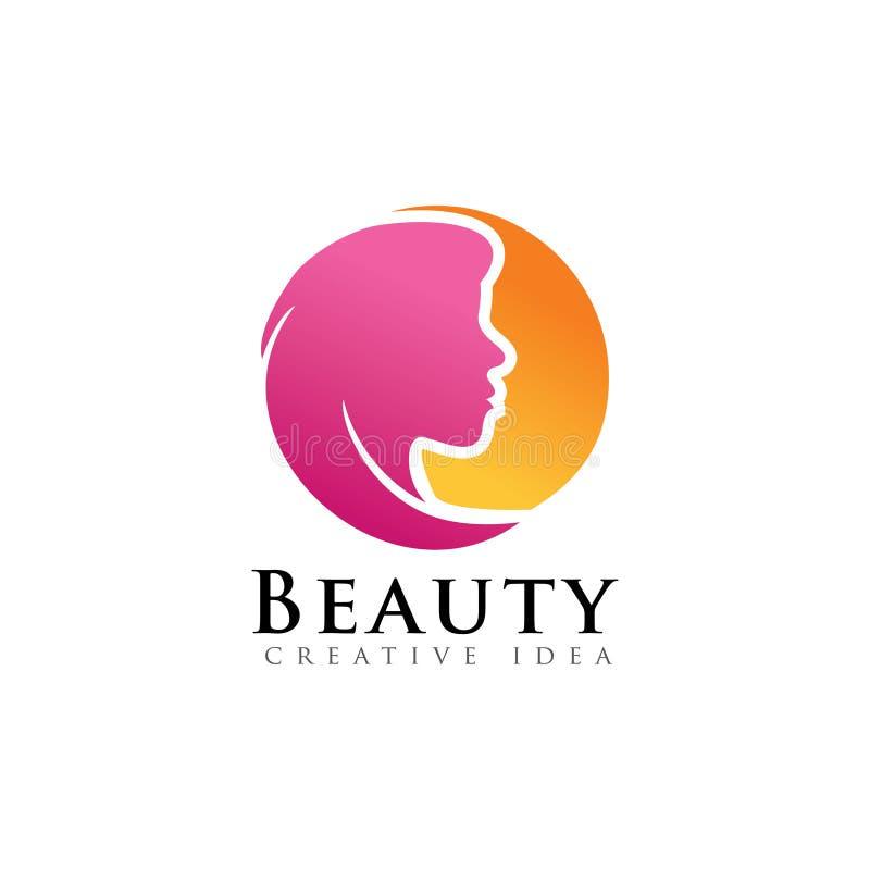 Cirkelsol med logo för skönhetframsidakvinnor royaltyfri illustrationer