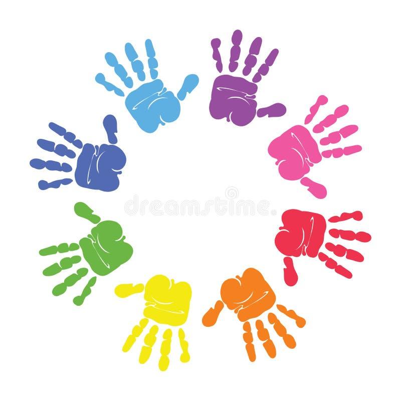 Cirkelspiral av färgrika handtryck som göras av isolerade barn på vit bakgrund vektor illustrationer