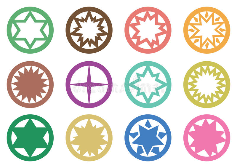 Cirkelstjärnasymboler vektor illustrationer