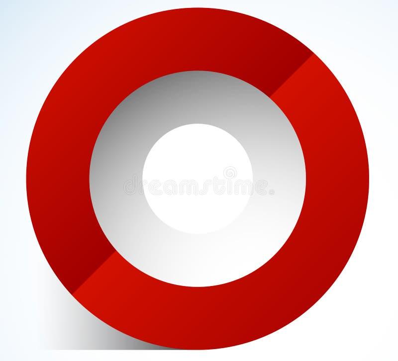 cirkelsymbol för abstrakt begrepp 3d med genomskinlig skugga Cirkelsymbol royaltyfri illustrationer