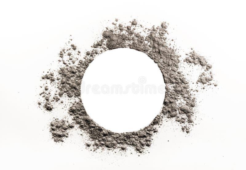 Cirkelteckningen i grå färger dammar av, ash molnet arkivfoto