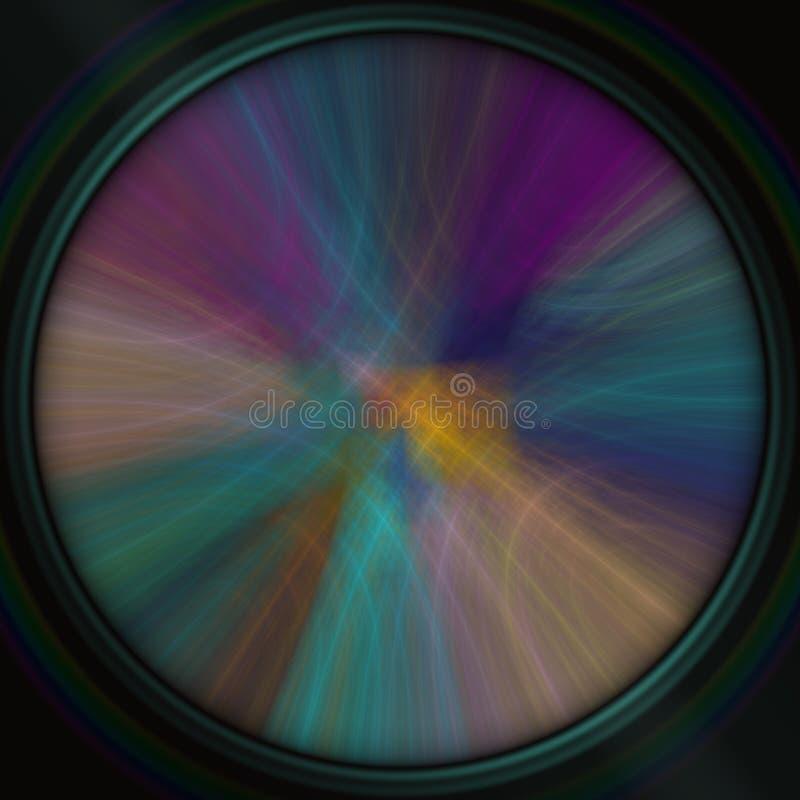 Cirkelutrymme med regnbågen buktar på svart bakgrund, modern abstrakt bakgrund som är användbar för egen text, meddelandet, medde royaltyfri illustrationer