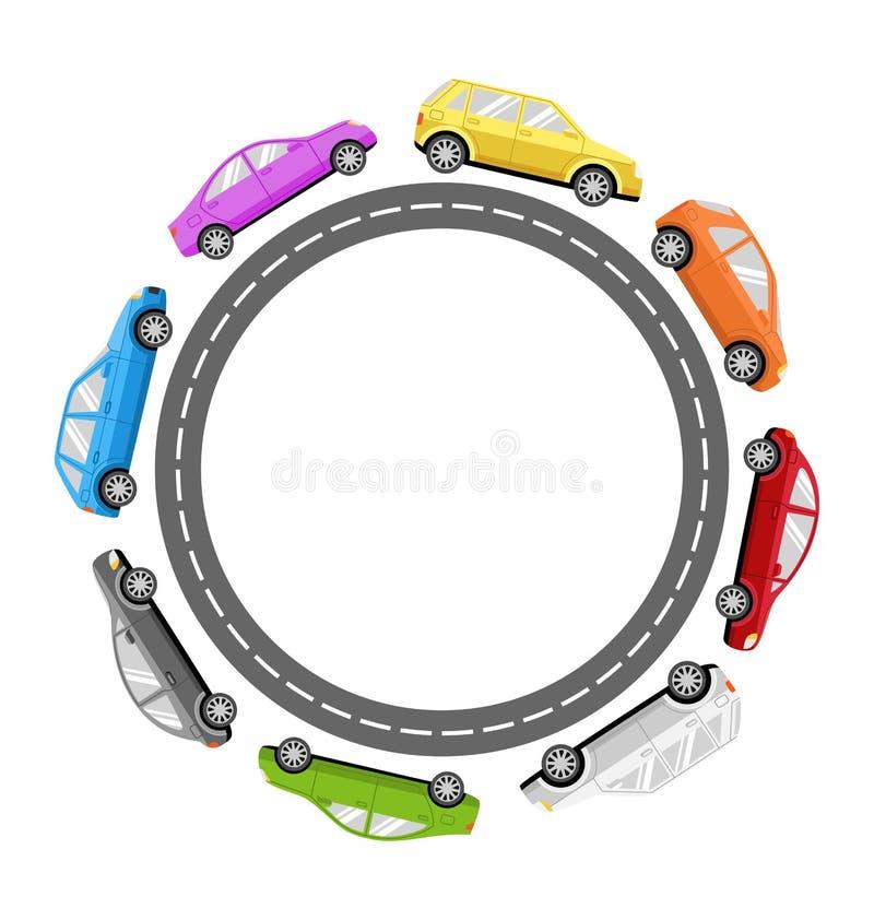 Cirkelvägram med färgrika bilar på vit stock illustrationer