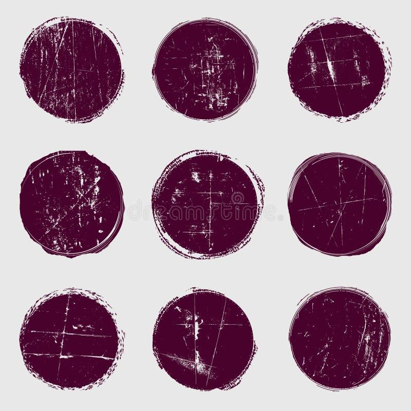 Cirkelvektoruppsättning av grunge royaltyfri illustrationer
