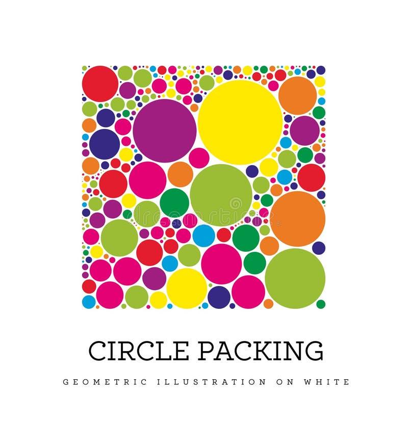 Cirkelverpakking Geometrische vectorillustratie De cirkels worden geplaatst zodanig dat zij raken, maar snijden niet stock illustratie