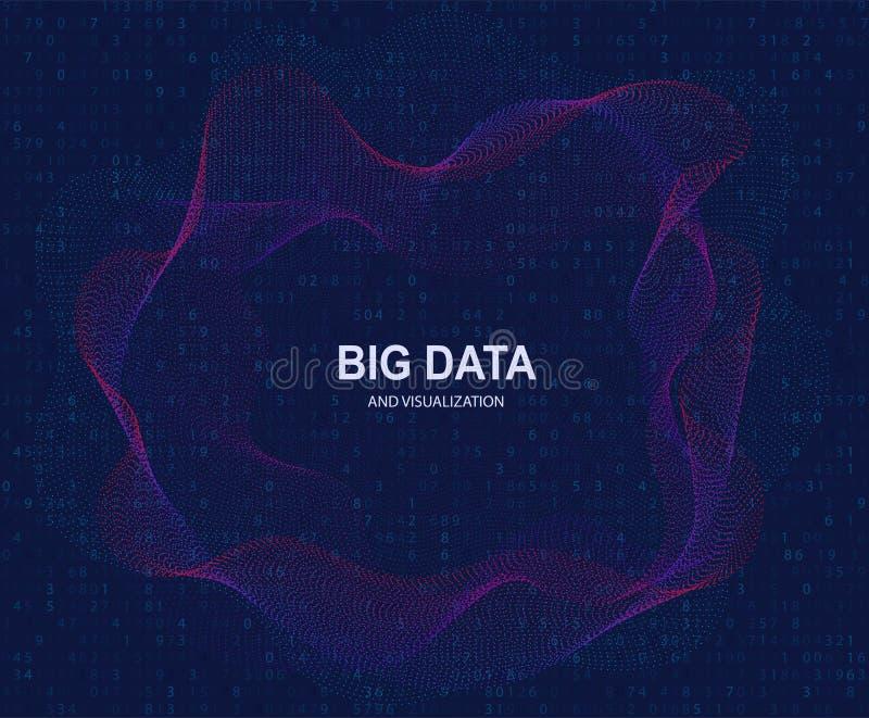 Cirkelvisualisatie van grote gegevens, kunstmatige intelligentie Stroomconcept en gegevenstransmissie stock illustratie