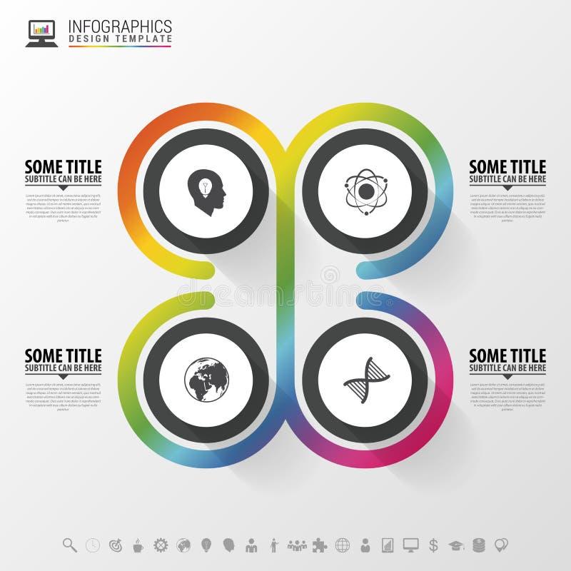 Cirkelvoorwerpen Het ontwerp van Infographic Malplaatje voor diagram, grafiek, presentatie en grafiek Vector illustratie stock illustratie