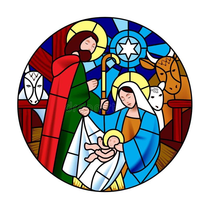 Cirkelvorm met de geboorte van Jesus Christ-scène in bevlekte gla royalty-vrije illustratie