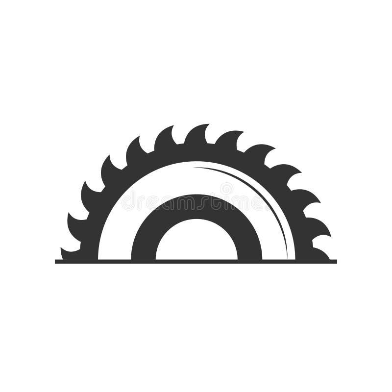 Cirkelzaagpictogram in vlakke die stijl op grijze achtergrond wordt geïsoleerd Voor uw ontwerp, embleem Vector illustratie royalty-vrije illustratie