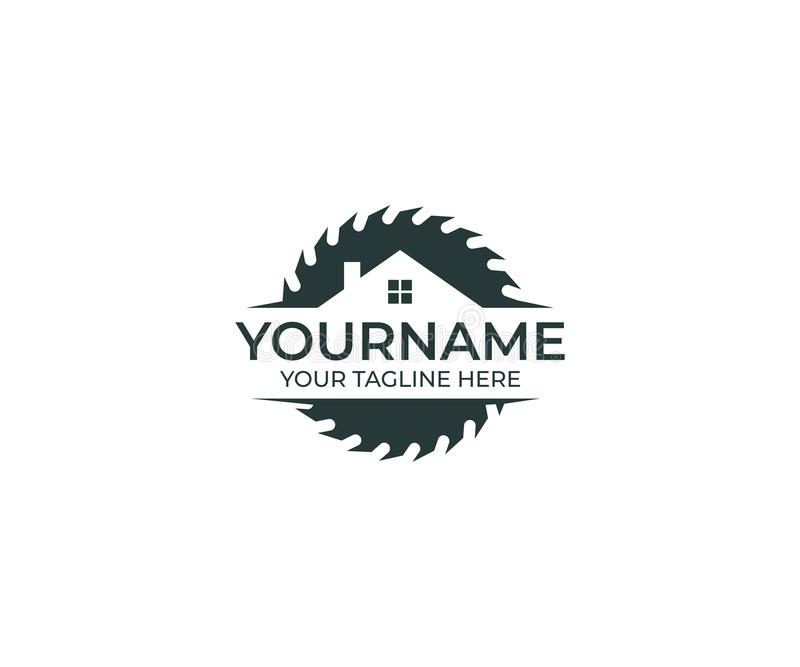 Cirkelzaagschijf voor Scherp Hout en Huis Logo Template Schrijnwerkerij Vectorontwerp royalty-vrije illustratie