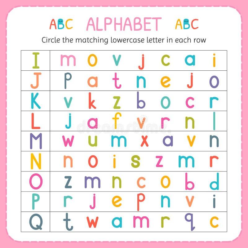 Cirkla den matcha lilla bokstaven i varje rad Från I till Q Arbetssedel för dagis och förträning Övningar för barn stock illustrationer