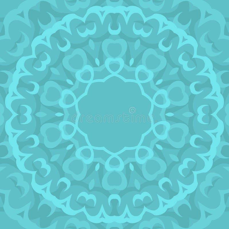Cirkla den sömlösa dekorativa geometriska arabiska modellen på blå bakgrund stock illustrationer