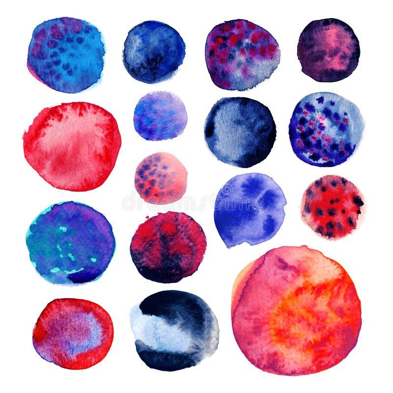 cirkla designelementhanden - den gjorda jag själv målade formvattenfärgen Hand blått dragit mörker - och röda vattenfärgcirklar s stock illustrationer