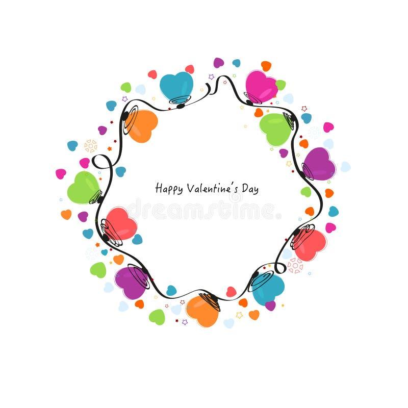 Cirkla färgrika hjärtor vektor för valentindagen och snöflingahälsningkortet stock illustrationer