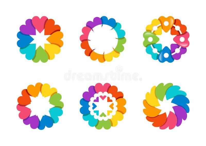 Cirkla hjärtalogoen, sund förälskelse för arroundregnbågen, global blom- design för vektor för hjärtasymbolsymbol vektor illustrationer