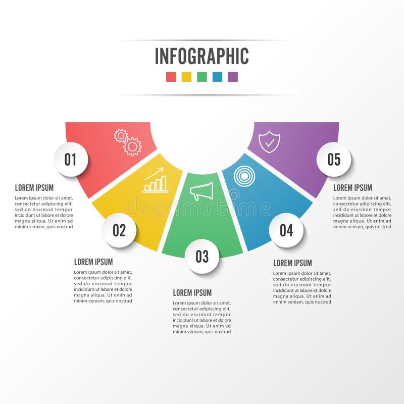 Cirkla infographic alternativ för mall fem, bearbeta eller kliva för affärspresentation vektor illustrationer