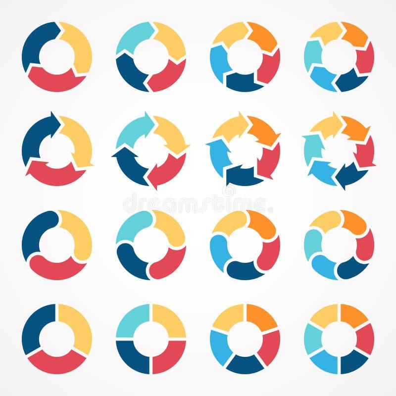 Cirkla infographic diagram 3, 4, 5, 6 för pilar royaltyfria bilder