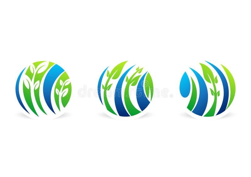 Cirkla växtlogoen, naturlig vattendroppe, vatten, bladet, global vektor för design för symbol för fastställt symbol för ekologina vektor illustrationer