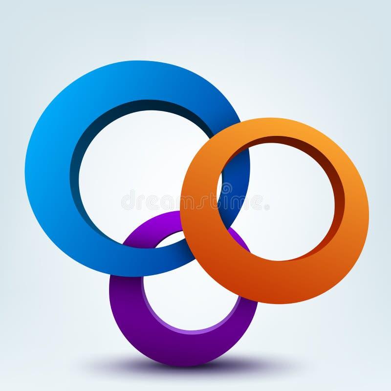 cirklar 3d vektor illustrationer