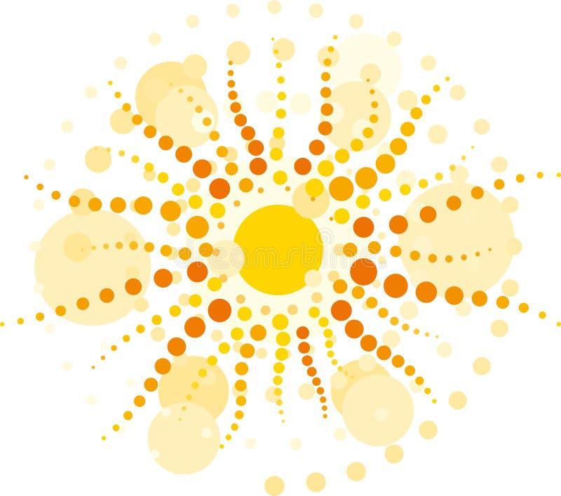 Sun med strålââfrom cirklar
