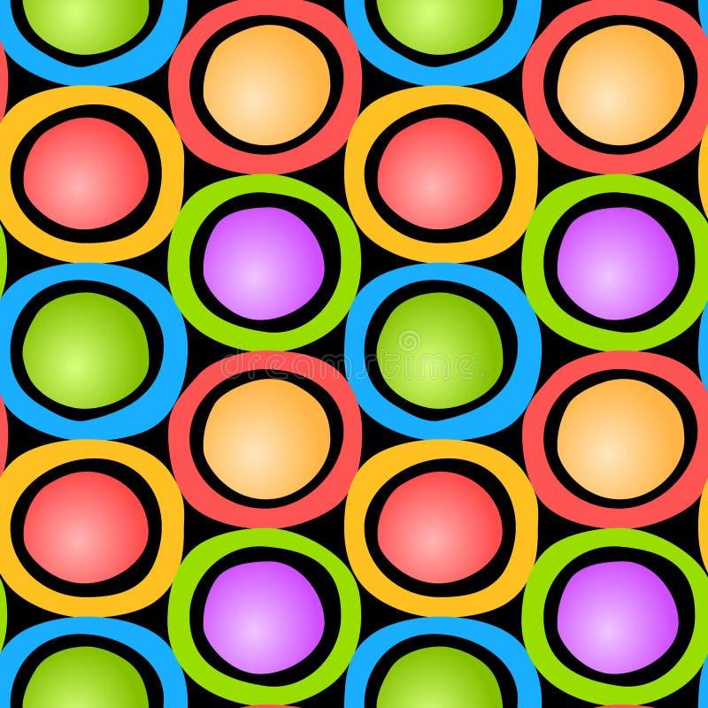 cirklar den seamless färgrika modellen royaltyfri illustrationer