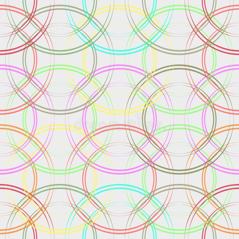 cirklar den seamless färgrika modellen Trendig geometrisk bakgrund i moderiktiga färger: mjuka rosa färger som är marinblåa, mint vektor illustrationer