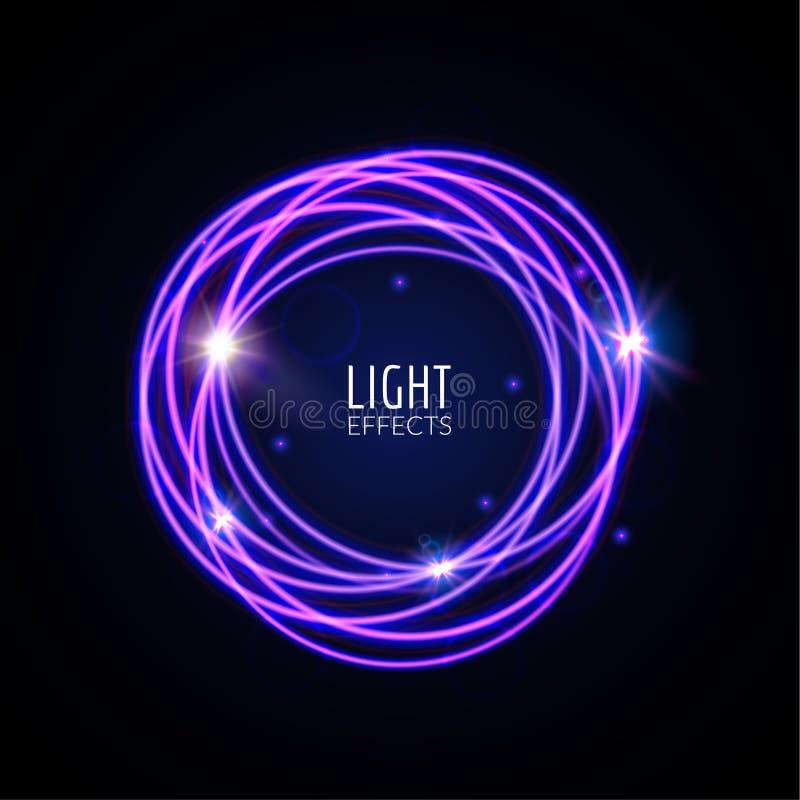 Cirklar för ljusa effekter Glödande linjer för rörelser med partiklar Modernt utforma Skinande linjer stock illustrationer