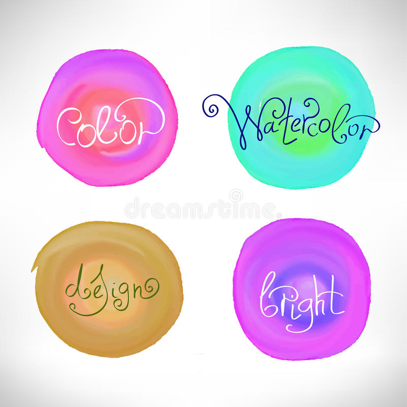 Cirklar gör sammandrag beståndsdelar för vattenfärgfärgstänkdesign stock illustrationer