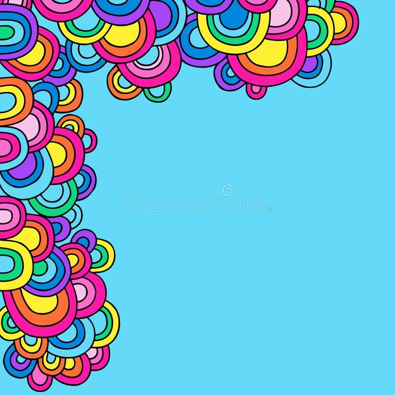 cirklar klottrar den groovy psychedelic vektorn stock illustrationer