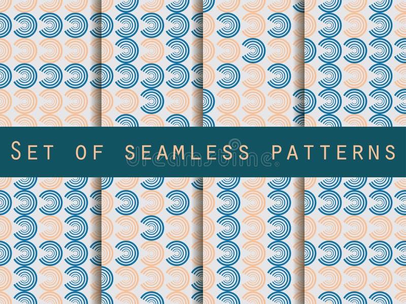 cirklar mönsan seamless seamless set för modell abstrakt bakgrund stock illustrationer