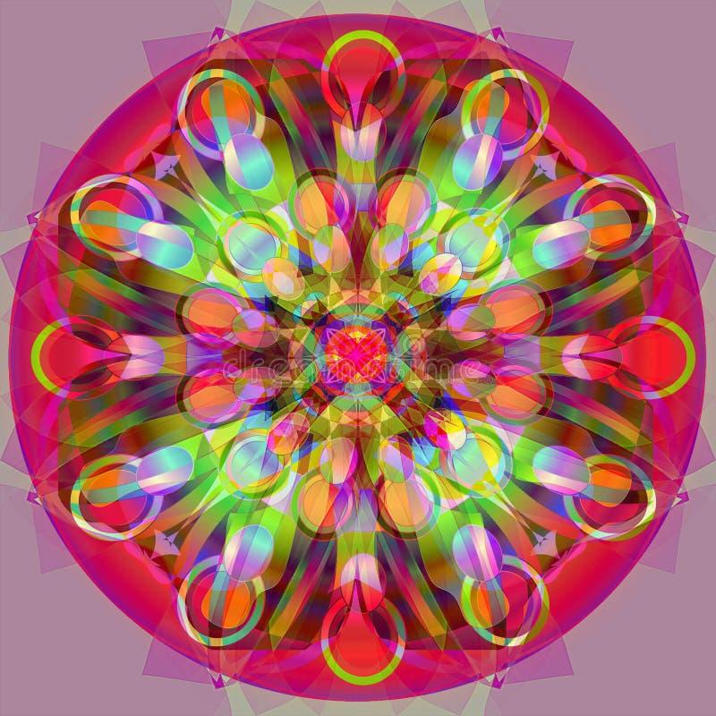 Cirklar mandalaen Rund design Abstrakt purpur bakgrund FÄRGRIK BILD I ROSA FÄRGER, GRÄSPLAN, TURKOS, LJUS - gräsplan royaltyfri foto