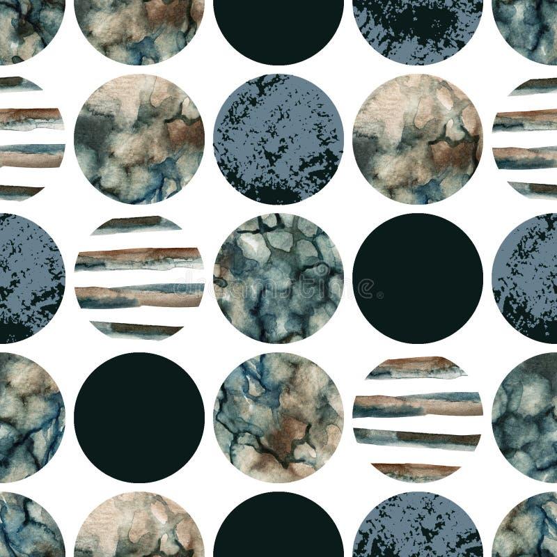 Cirklar med att marmorera för vattenfärg som är grained, grunge, papperstexturer royaltyfri illustrationer