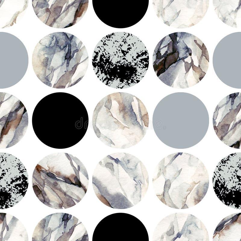 Cirklar med att marmorera för vattenfärg som är grained, grunge, papperstexturer stock illustrationer