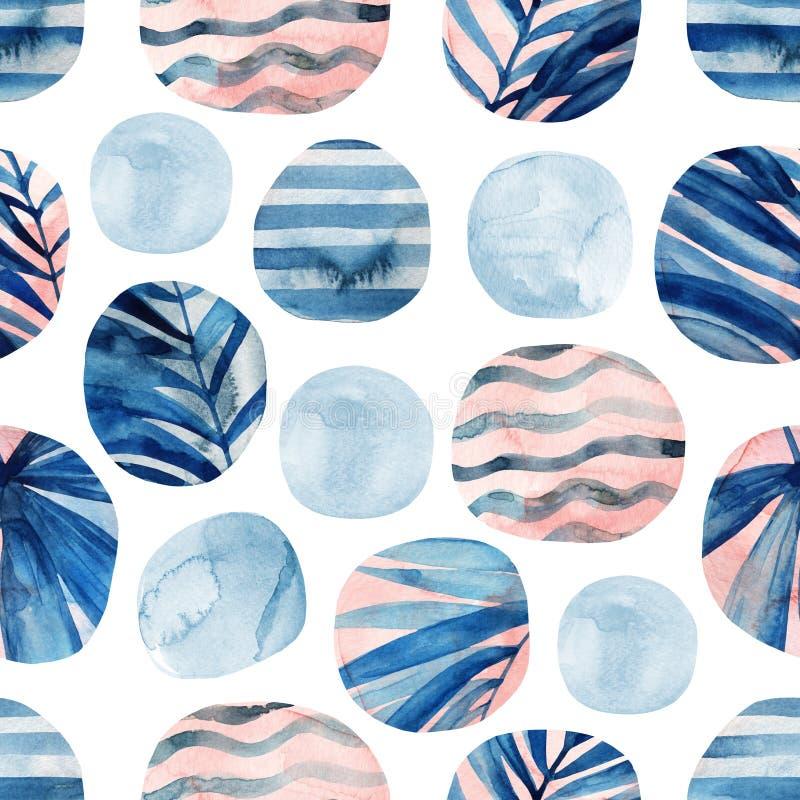Cirklar med palmblad, v?gor, band och vattenf?rg marmorerar, grained, grunge, papperstexturer vektor illustrationer