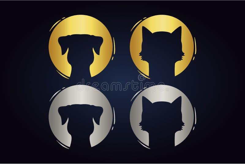 Cirklar med tamdjurkonturer inom runda former med husdjur i silver och guld- färger vektor illustrationer