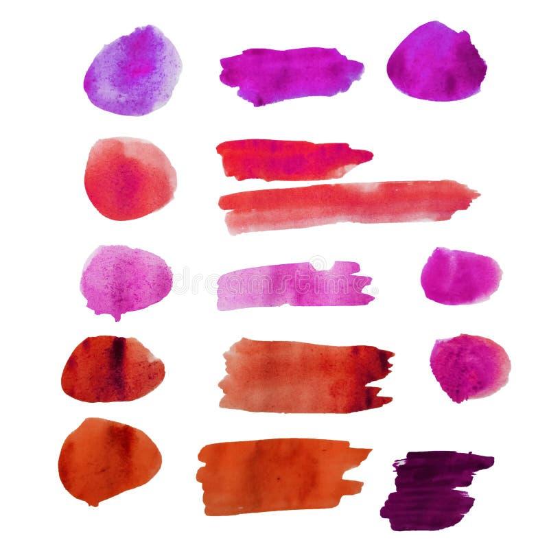 Cirklar och band dras med vattenfärgen av handen Fläck fläckar, målarfärglinjer Färgrika färgstänk på en isolerad vit bakgrund royaltyfri illustrationer