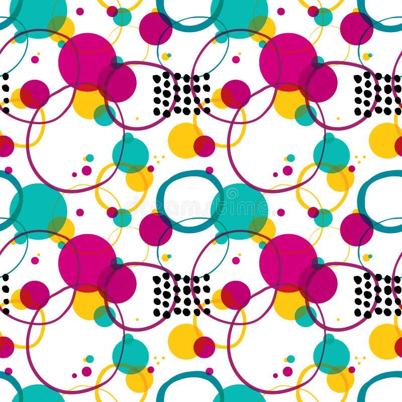 Cirklar och prickar för vektor gör sammandrag färgrika moderiktiga sömlös modellbakgrund vektor illustrationer