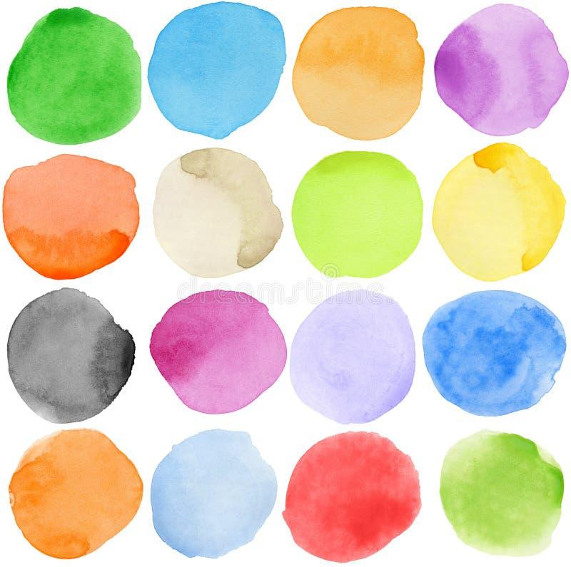 cirklar vattenfärg stock illustrationer