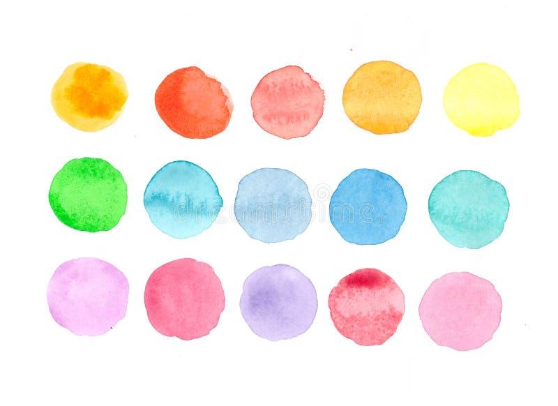 Cirklarna med olika färger av vattenfärgen stock illustrationer